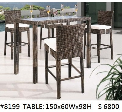 # 8199 TABLE : 150X60WX98H $6800,Furniture,Table,Wicker,Outdoor table,Bar stool