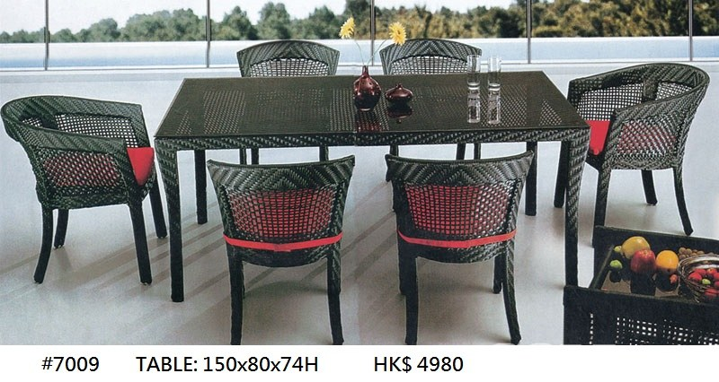 #7009 HK$ 4980 TABLE: 150X80X74H  Wicker,Furniture,Table,Outdoor table,Iron