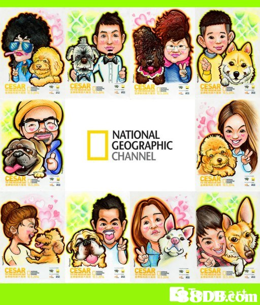 NATIONAL GEOGRAPHIC CHANNEL CESAR  facial expression,cartoon,text,nose,smile