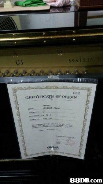 "U1 5961535 CERTIFİCAEpeF ORIGIN"" AMANA UPRIGHI PIANO . YAMAHA 88DB.com  text"