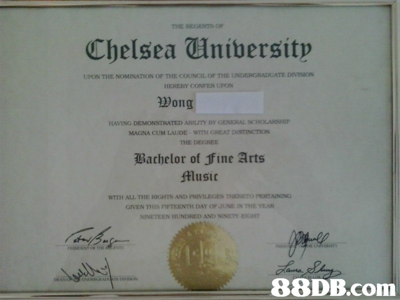 Thelsea Universitp UPON THE NOMINATION OF THE COUNCIL OF THE UNDERGRADLATE DIVISION HEREBY CONFER UPON Wong HAVING DEMONSTRATED ABILITY BY GENERAL SCHOLARSHEP MAGNA CUM LAUDE WITH GREAT DISTINCTİON THE DEGREE Bachelor of ine Arts Music WITH ALL THE RIGHTS AND PRIVILEGES THENETO PERTAINING GIVEN ㄲ its FTFTEENml DAY OF JUNE iN THE YEAR NINETEEN HUNDRED AND NINET ERSET PRENDENT OF THE KIEN DEAN,text,diploma,academic certificate,professional certification,document
