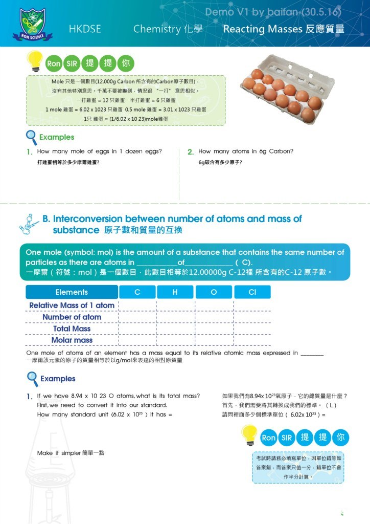 "Demo V1 by baifan (30.5.16 HKDSE Chemistry化學 Reacting Masses反應質量 Mole只是一個數目(12.000g Carbon所含有的Carbon原子數目) 沒有其他特別意思。千萬不要被嚇到,情況跟 ""一打""意思相似。 一打雞蛋=12只雞蛋 半打雞蛋=6只雞蛋 1 mole雞蛋= 6.02x 1023只雞蛋0.5 mole雞蛋 3.01 x 1023只雞蛋 1衹雞蛋s(1/6.02x 10 23)mole雞蛋 Examples 1. How many mole of eggs in 1 dozen eggs? 2. How many atoms in 6g Carbon? 打雅蛋相等於多少摩爾雖蛋? 6g碳含有多少原子? B. Interconversion between number of atoms and mass of substance原子數和質量的互换 One mole (symbol: mol) is the amount of a substance that contains the same number of particles as there are atoms in -摩爾(符號: mol )是一個數目,此數目相等於12.00000g C-12裡所含有的C-12原子數。 of Elements Relative Mass of 1 atom Number of atom Total Mass Molar mass Cl One mole of atoms of an element has a mass equal to its relatlve atomic mass expressed in 一摩爾該元素的原子的質量相等於以g/mol來表達的相對原質量 Examples 1· If we have 8.94 x 10 23 O atoms, what is its total mass? 如果我們有8.94x 1023氧原子,它的總質量是什麽? 首先,我們需要將其轉換成我們的標準。(L) 請問裡面多少個標準單位( 6.02x 1023)- First, we need to convert it into our standard. How many text"