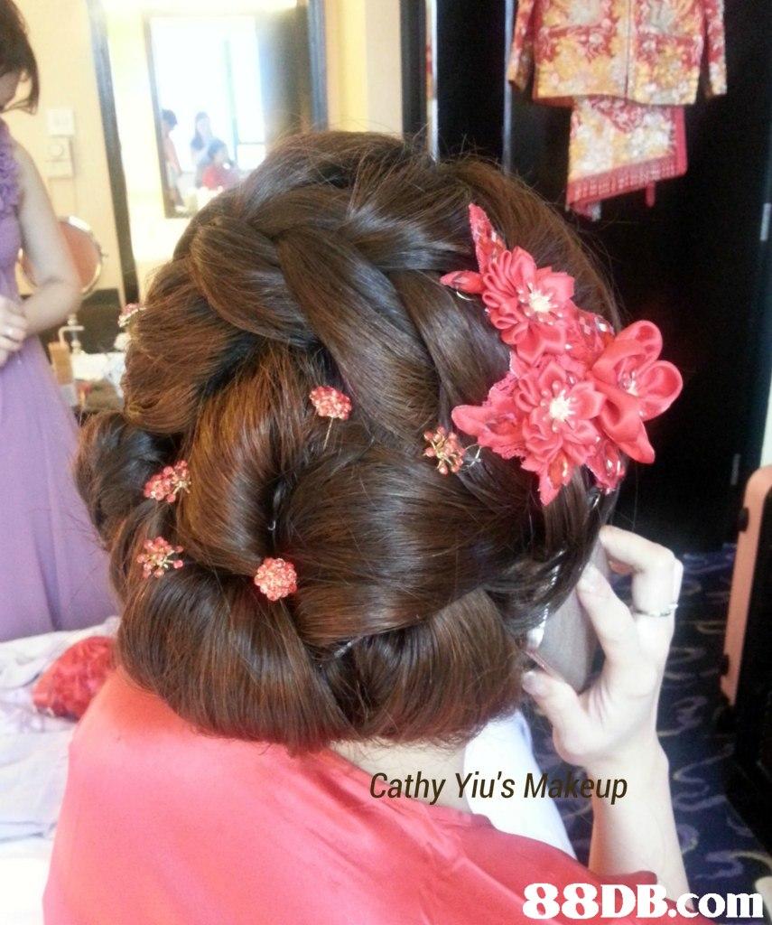 Cathy Yiu's Makeup,hair,hairstyle,long hair,chignon,bun