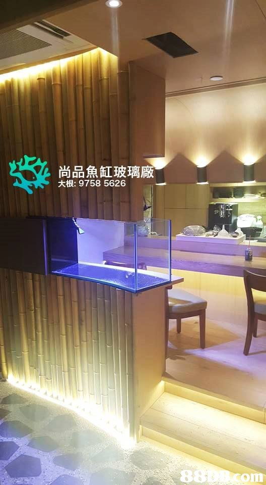 尚品魚缸玻璃廠 大根: 9758 5626 8 om  property,interior design,light,ceiling,lighting