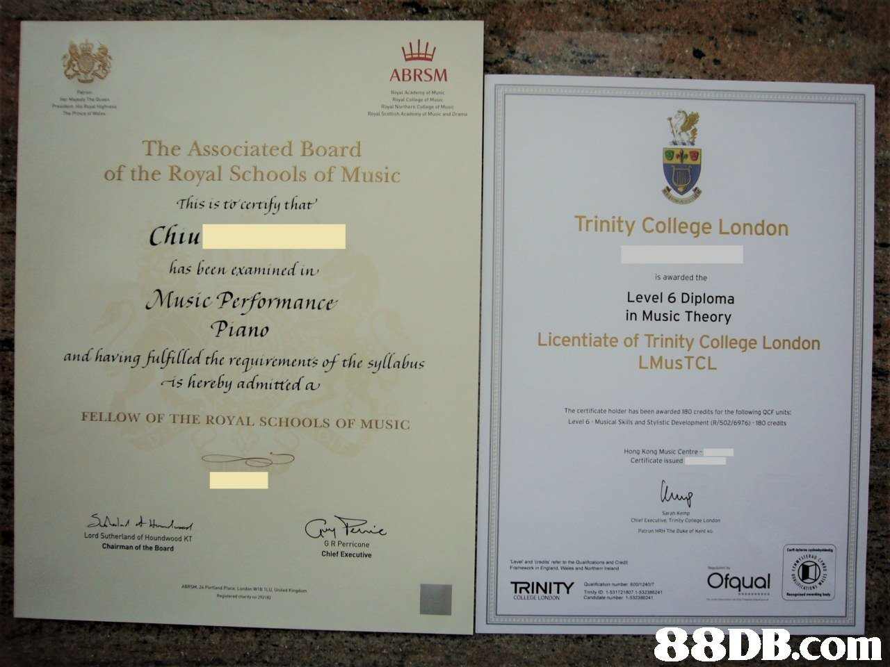 "ABRSM layal Academy of Music Reyal College of Music Royal Northern College of Music Royal Scettlish Academy of Music and Drama The Associated Board of the Royal Schools of Music This is t0""certify that' 疆凋 Trinity College London Chiu 1114 has been cxamined in is awarded the Music Performance Level 6 Diploma in Music Theory Licentiate of Trinity College London LMusTCL Piano and having fulfilled the requirements of the syllabus -is hereby admittid a FELLOW OF THE ROYAL SCHOOLS OF MUSIC The certificate holder has been awarded 180 credits for the following QCF units: Level 6 Musical Skills and Stylistic Development (R/502/6976)-180 credits Hong Kong Music Centre Certificate issued Sarah Kemp Chiet Executive Trinty College Landon Patron The Duke o! Kent KG Lord Sutherland of Houndwood KT Chairman of the Board G R Perricone Chief Executive Level and ered ts、refer to the Quatatons and Credit Framework in England, Wales and Northem reland Ofqual ADRSM·26 Portland Place, LMdse, w1B 1L text"