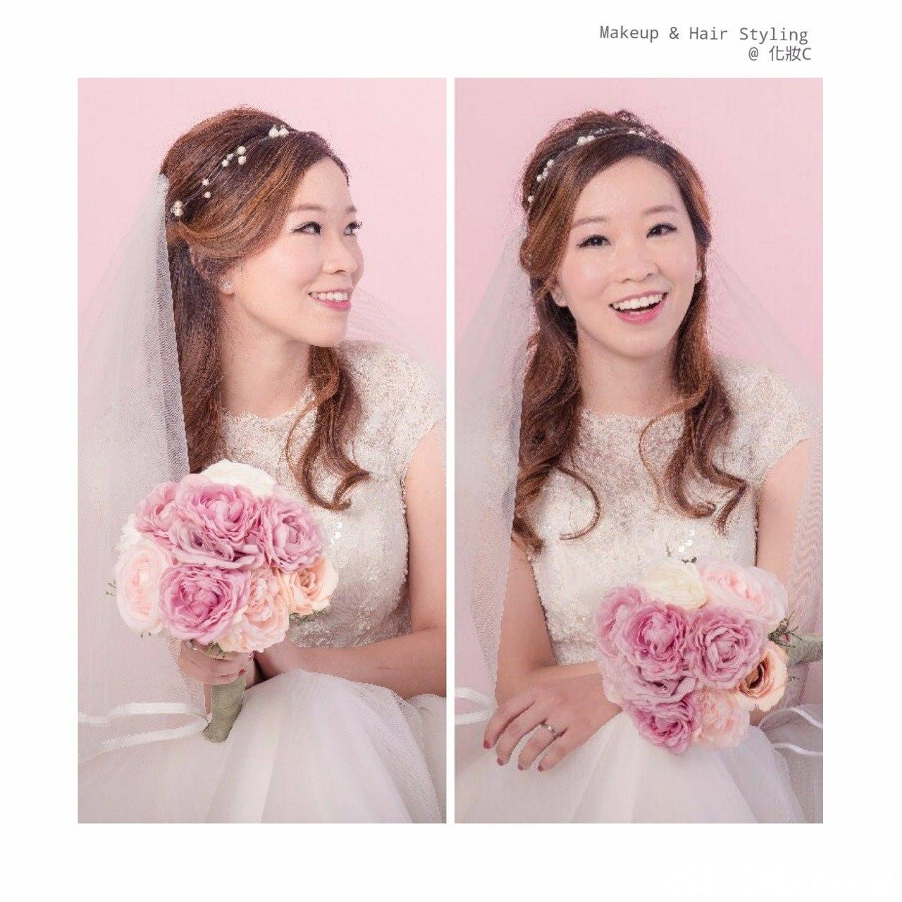Makeup & Hair Styling @化妝C,pink,hair accessory,headpiece,bride,flower