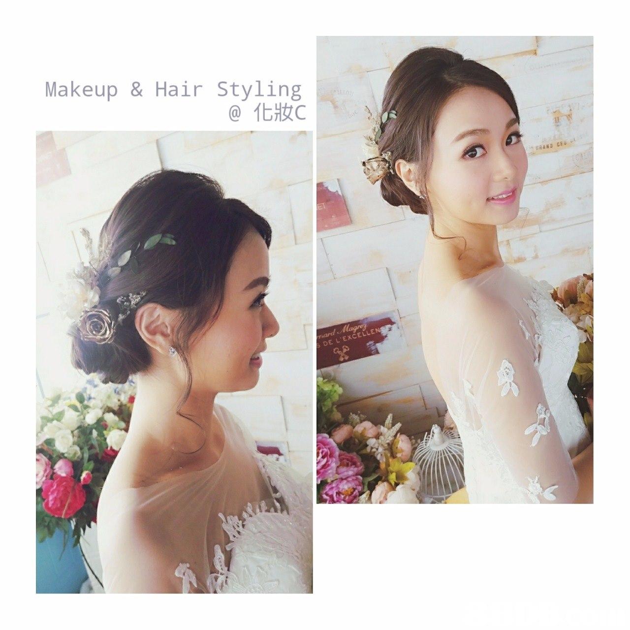 Makeup & Hair Styling @化妝c GRAND CEU EXCELL DE L,hair,bride,hair accessory,flower,hairstyle