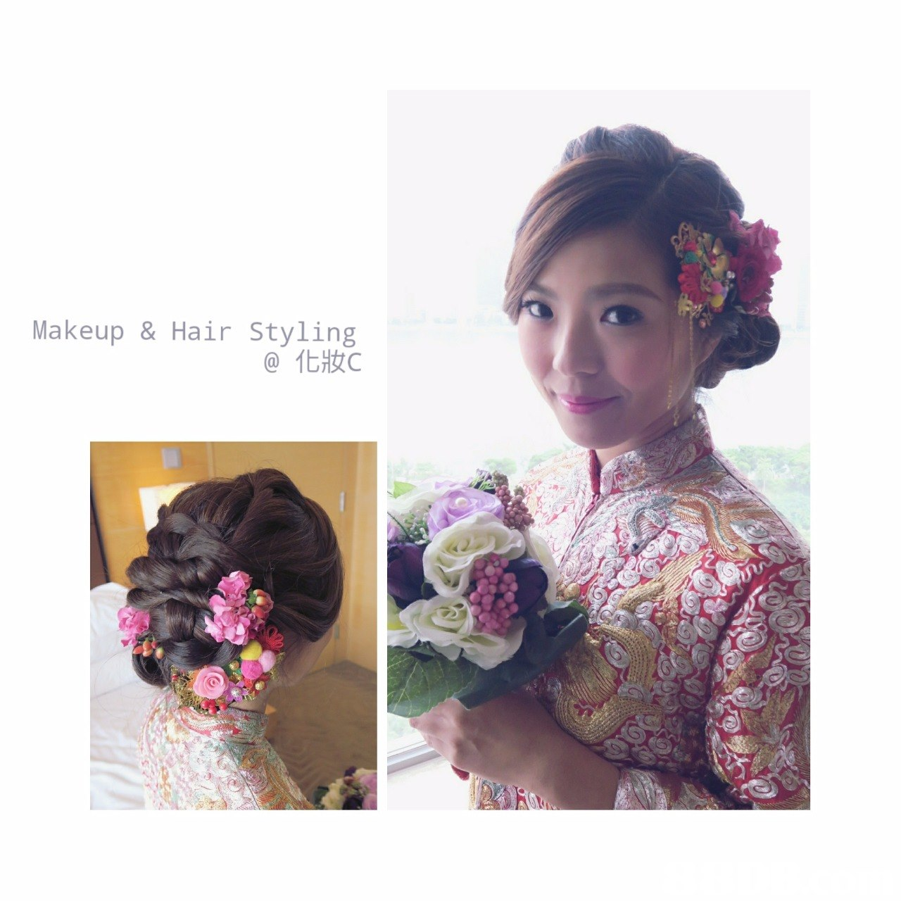 Makeup & Hair Styling @化妝c,hair,flower,bride,pink,hair accessory