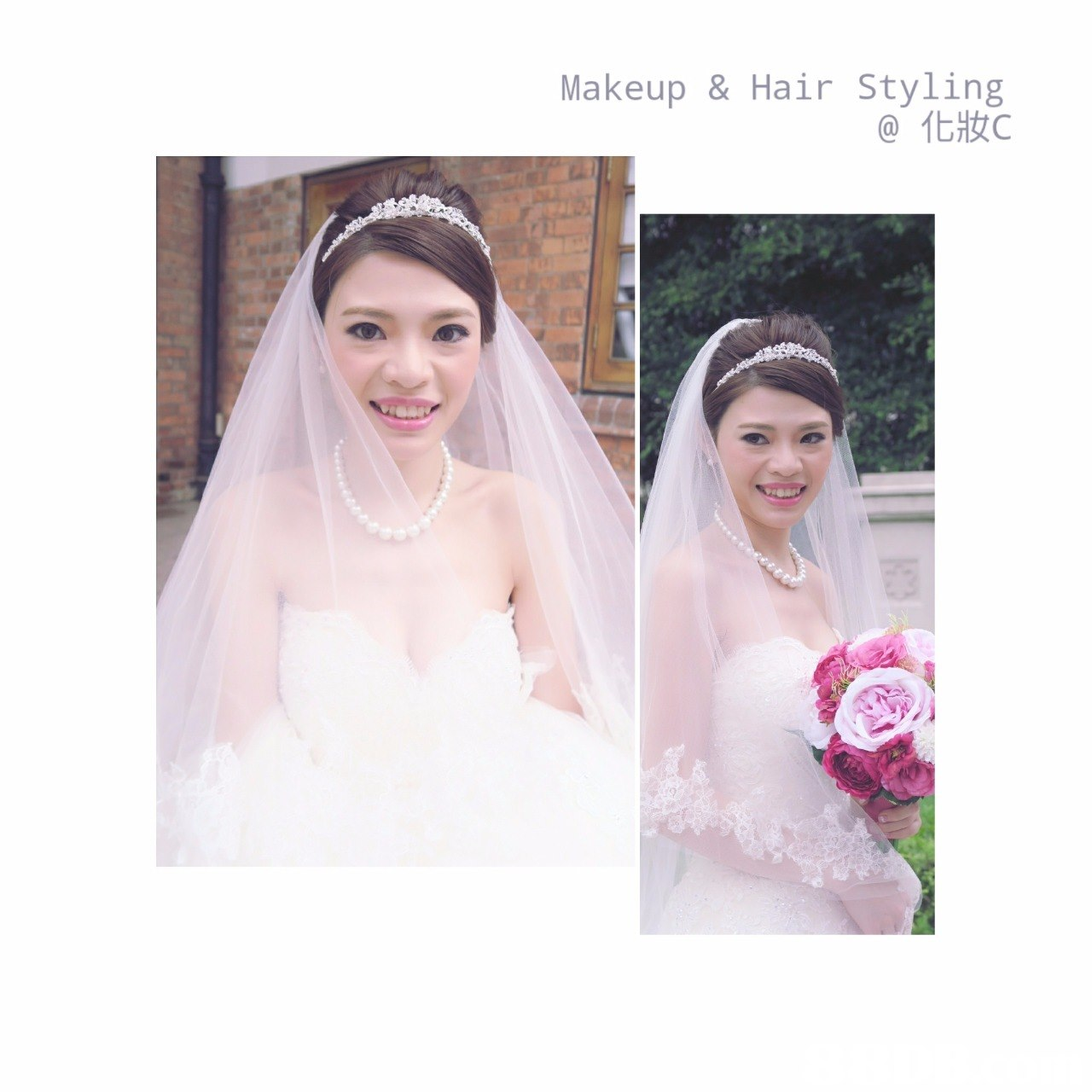 Makeup & Hair Styling @化妝c,gown,bride,pink,veil,headpiece