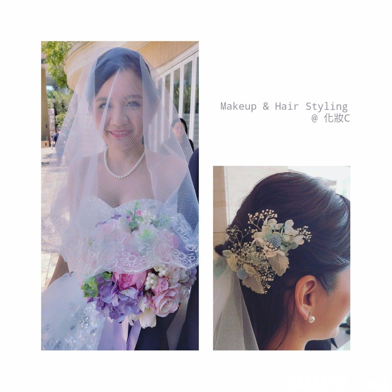 Makeup & Hair Styling @化妝c,flower,hair,bride,headpiece,hair accessory