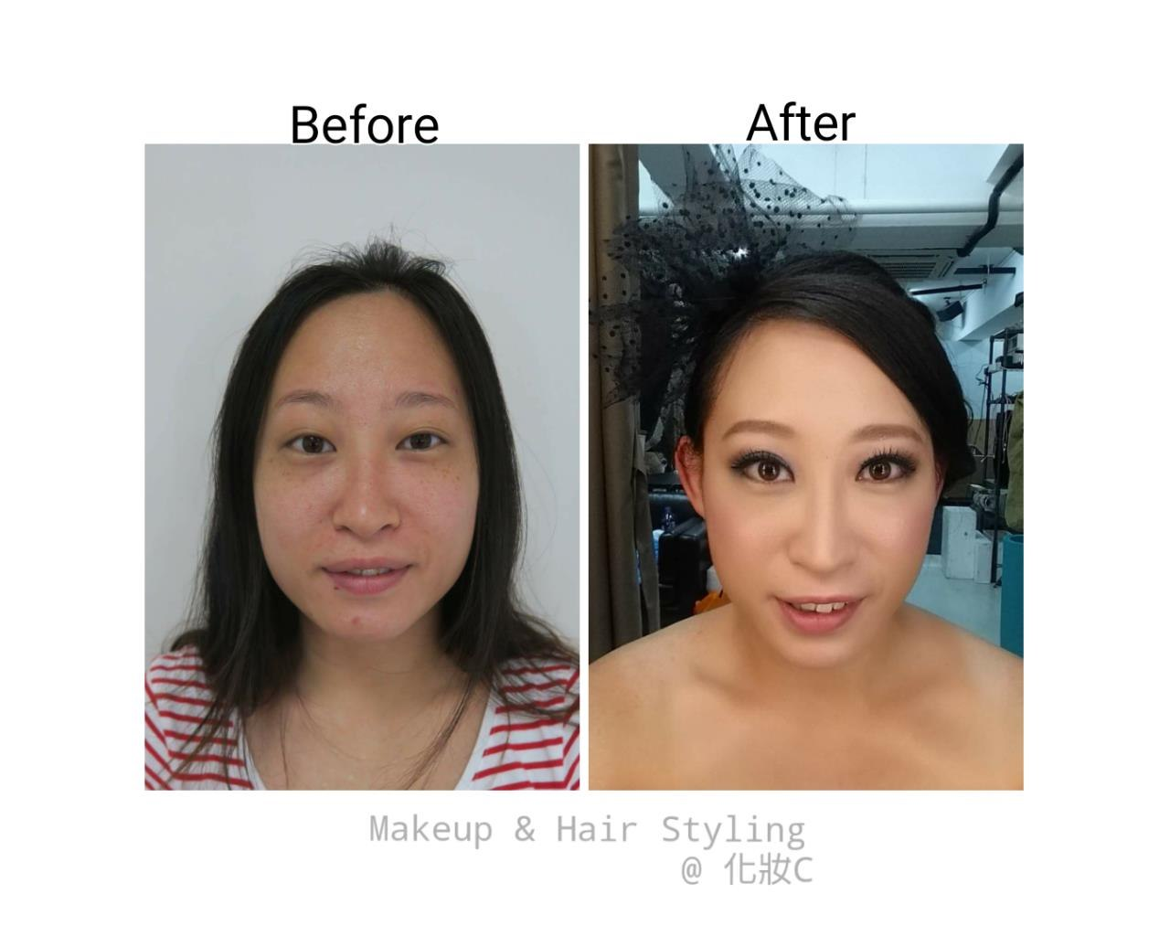 Before After Makeup & Hair Styling @化妝C,eyebrow,face,skin,cheek,nose