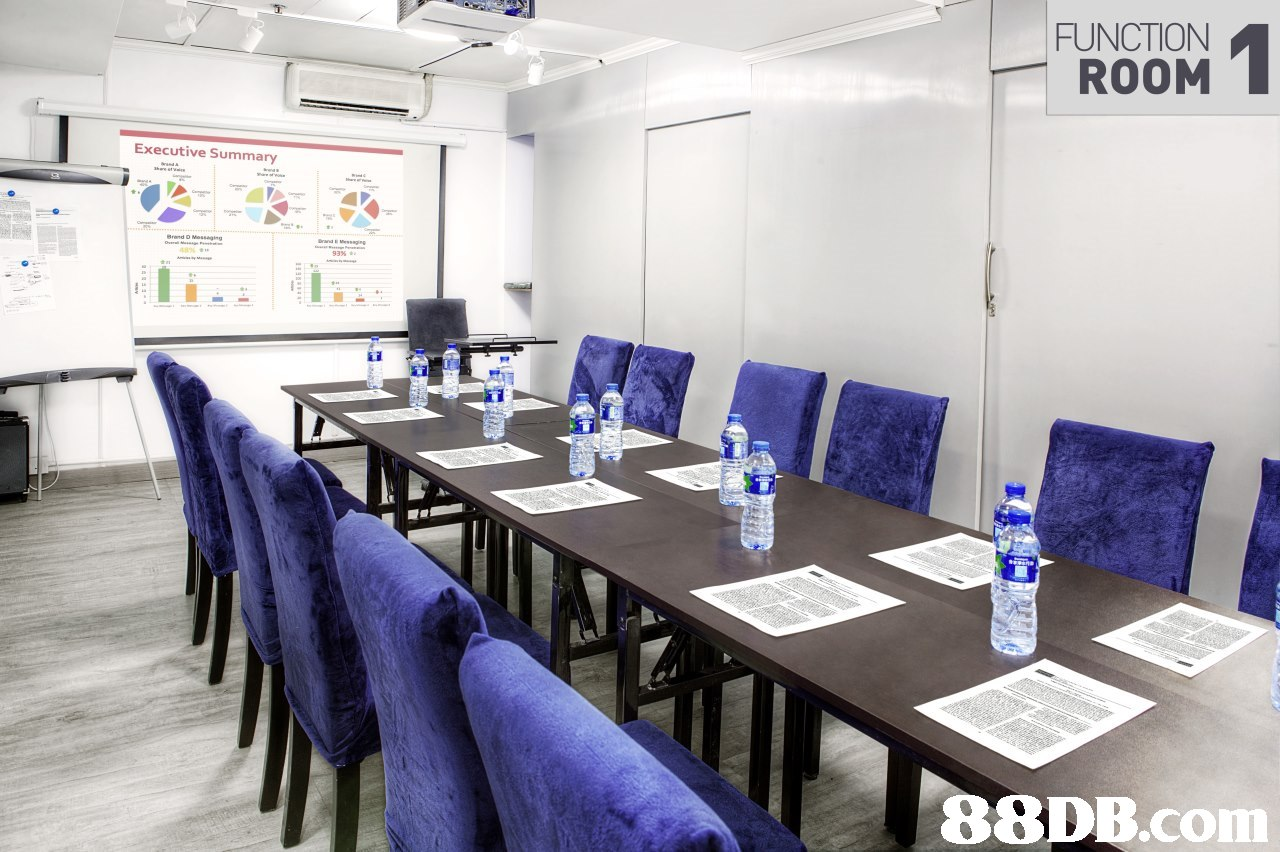 FUNCTION ROOM Executive Summary,conference hall,table,