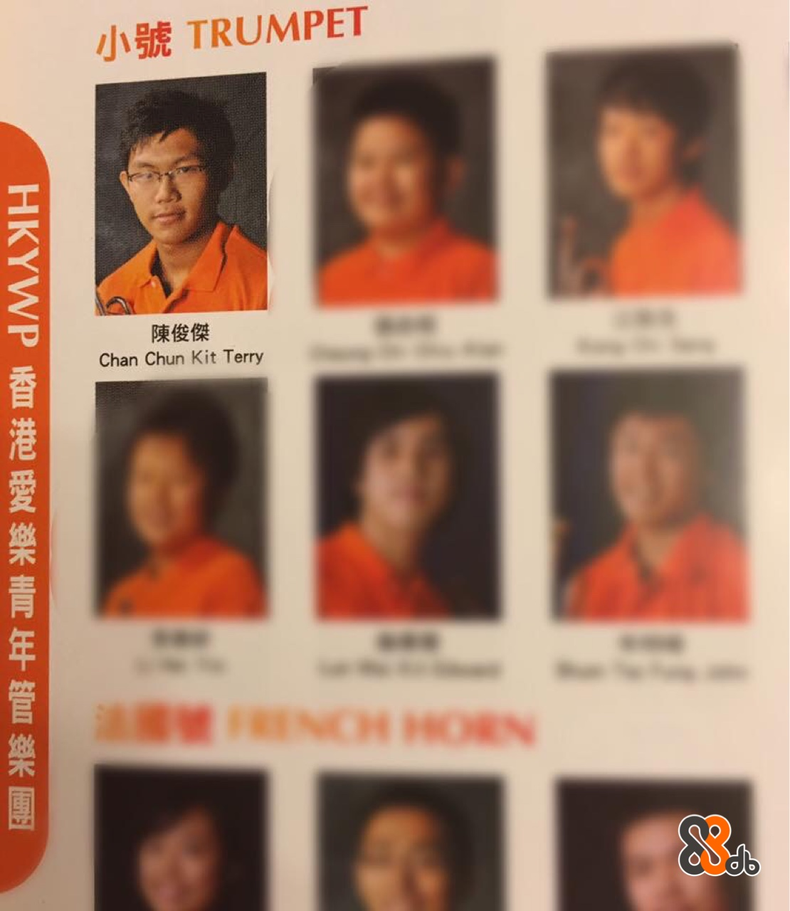 小號TRUMPET 陳俊傑 Chan Chun Kit Terry HKYWP香港愛樂青年管樂團  facial expression