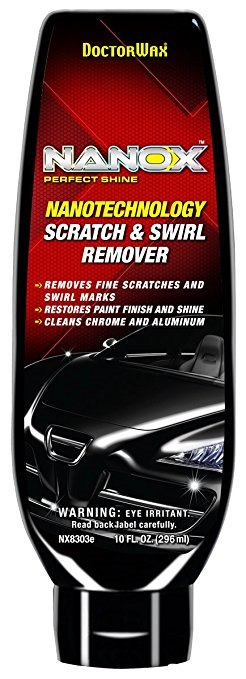 DOCTORWAx PERFECT SHINE NANOTECHNOLOGY SCRATCH& SWIRL REMOVER REMOVES FINE SCRATCHES AND SWIRL MARKS RESTORES PAINT FINISH AND SHINE CLEANS CHROME AND ALUMINUNM WARNING: EYE IRRITANT Read backJabel carefully. NX8303e 10F 96ml)  product,automotive lighting,product,hardware,