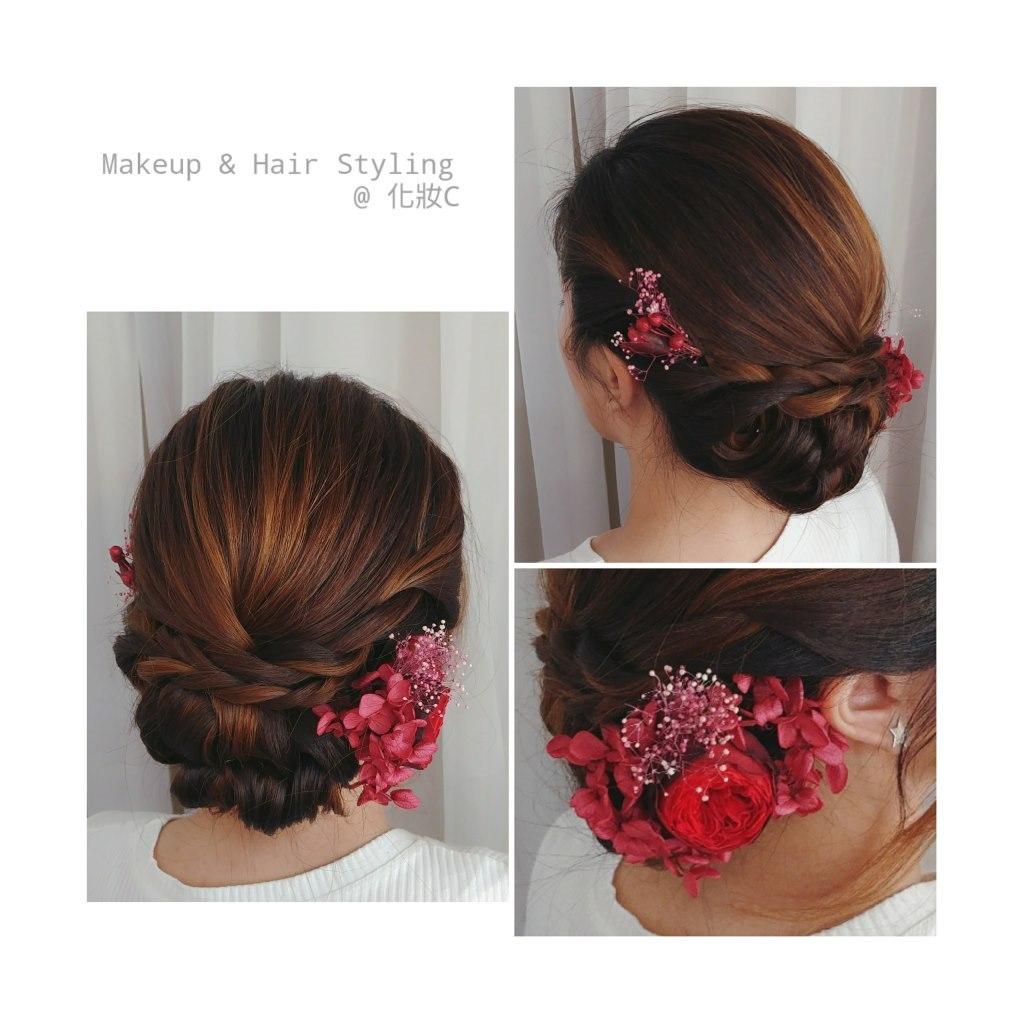 Makeup & Hair Styling @化妝c,hair,flower,hairstyle,headpiece,hair accessory