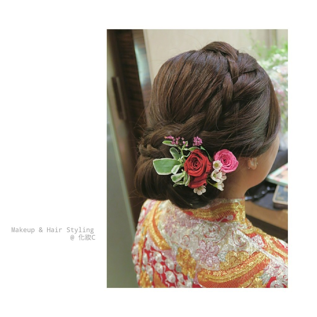 Makeup & Hair Styling @化妝c,hair,hairstyle,flower,hair accessory,flower arranging
