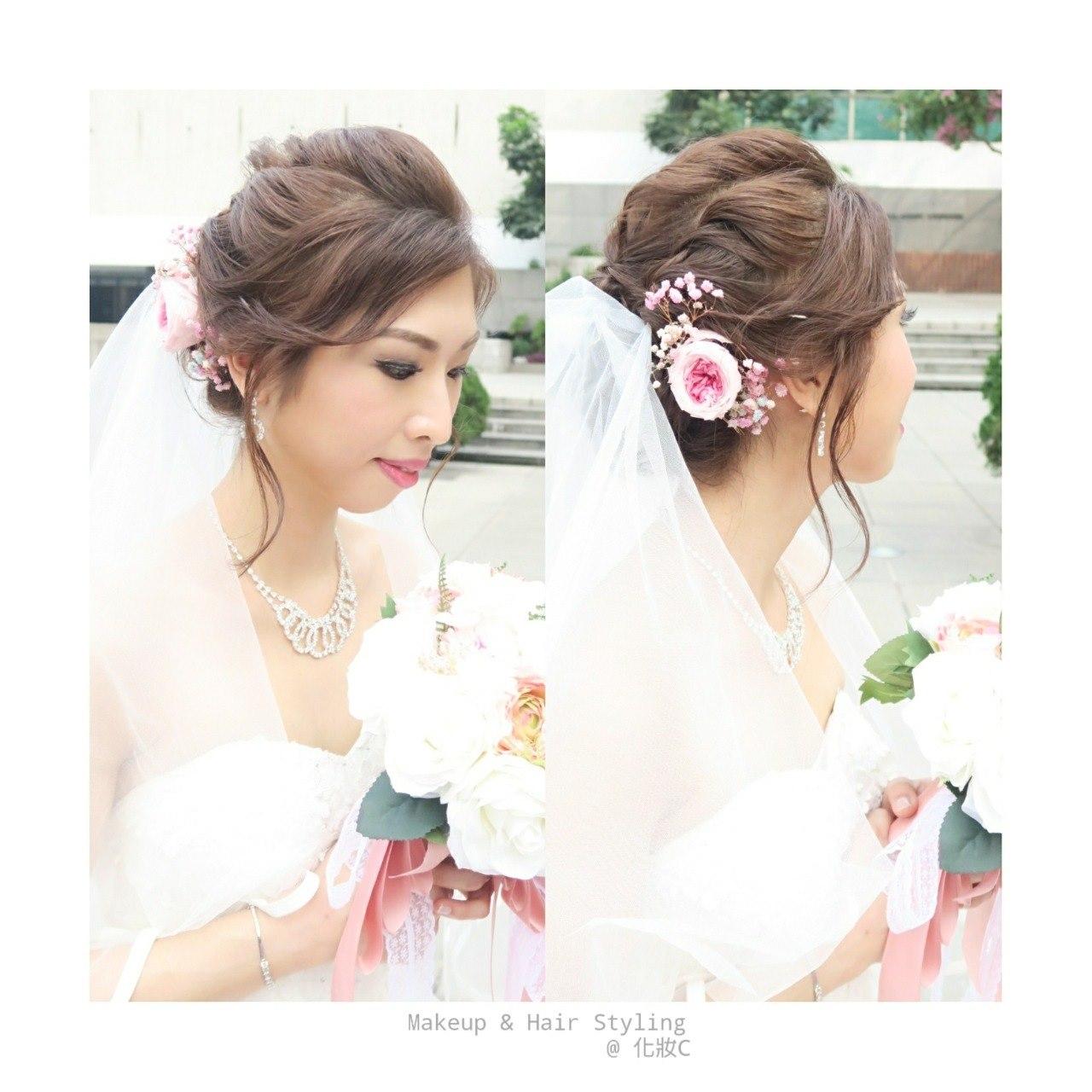 Makeup & Hair Styling @化妝c,flower,hair,bride,gown,hair accessory