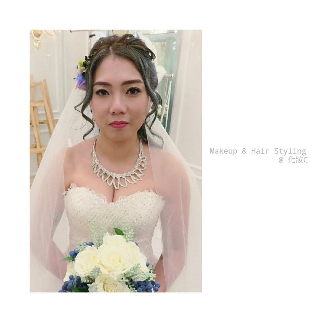 Makeup & Hair Styling @化妝c,bride,gown,hair accessory,headpiece,veil