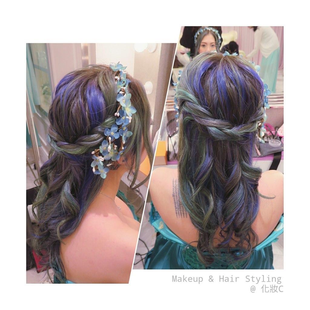 Makeup & Hair Styling @化妝c,hair,hairstyle,human hair color,purple,long hair