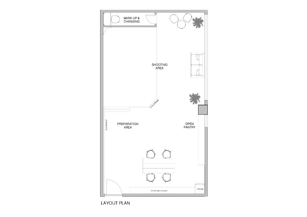 MARK UP & CHANGING SHOOTING AREA PAEPARATION AREA OPEN PANTRY RICSE LAYOUT PLAN  text