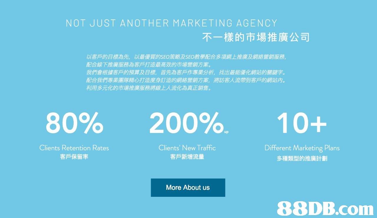 NOT JUST ANOTHER MARKETING AGENCY 不一樣的市場推廣公司 以客戶的目標為先,以最優質的SEO策略及SEO教學配合多項網上推廣及網絡營銷服務 配合線下推廣服務為客戶打造最高效的市場營銷方案。 我們會根據客戶的預算及目標,首先為客戶作專業分析,找出最能優化網站的關鍵字。 配合我們專業團隊精心打造度身訂造的網絡營銷方案,將訪客人流帶到客戶的網站內。 利用多元化的市場推廣服務將線上人流化為真正銷售。 80% 200%-10+ up Clients Retention Rates 客戶保留率 Clients' New Traffic 客戶新增流量 Different Marketing Plans 多種類型的推廣計劃 More About us 88DB.com  blue
