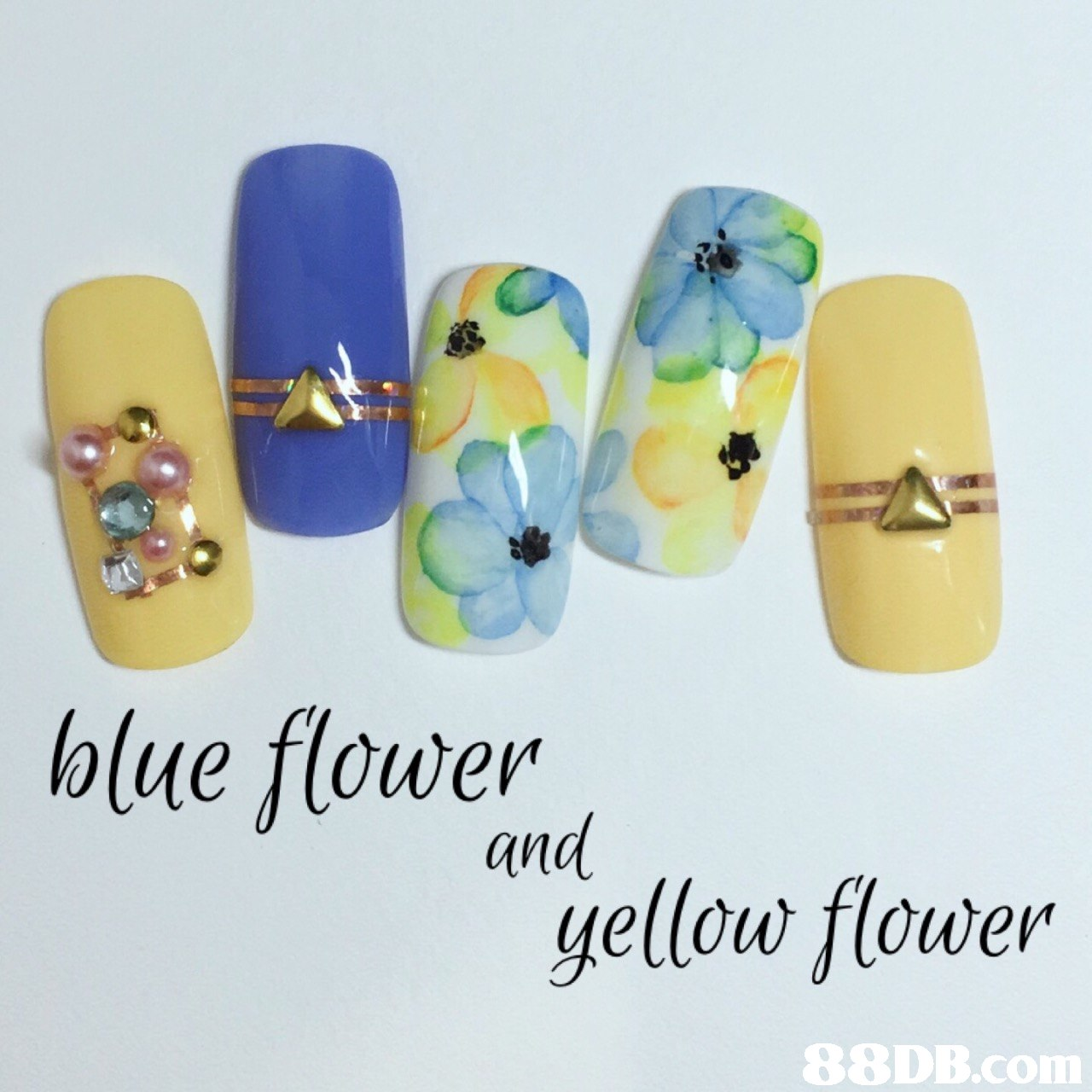 blue flower and gellow flower   Nail,Yellow,Finger,Nail care,Artificial nails