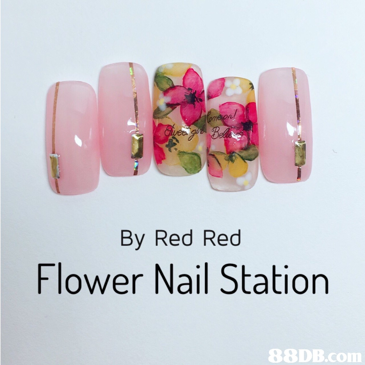 By Red Red Flower Nail Station   Nail,Nail polish,Nail care,Pink,Manicure