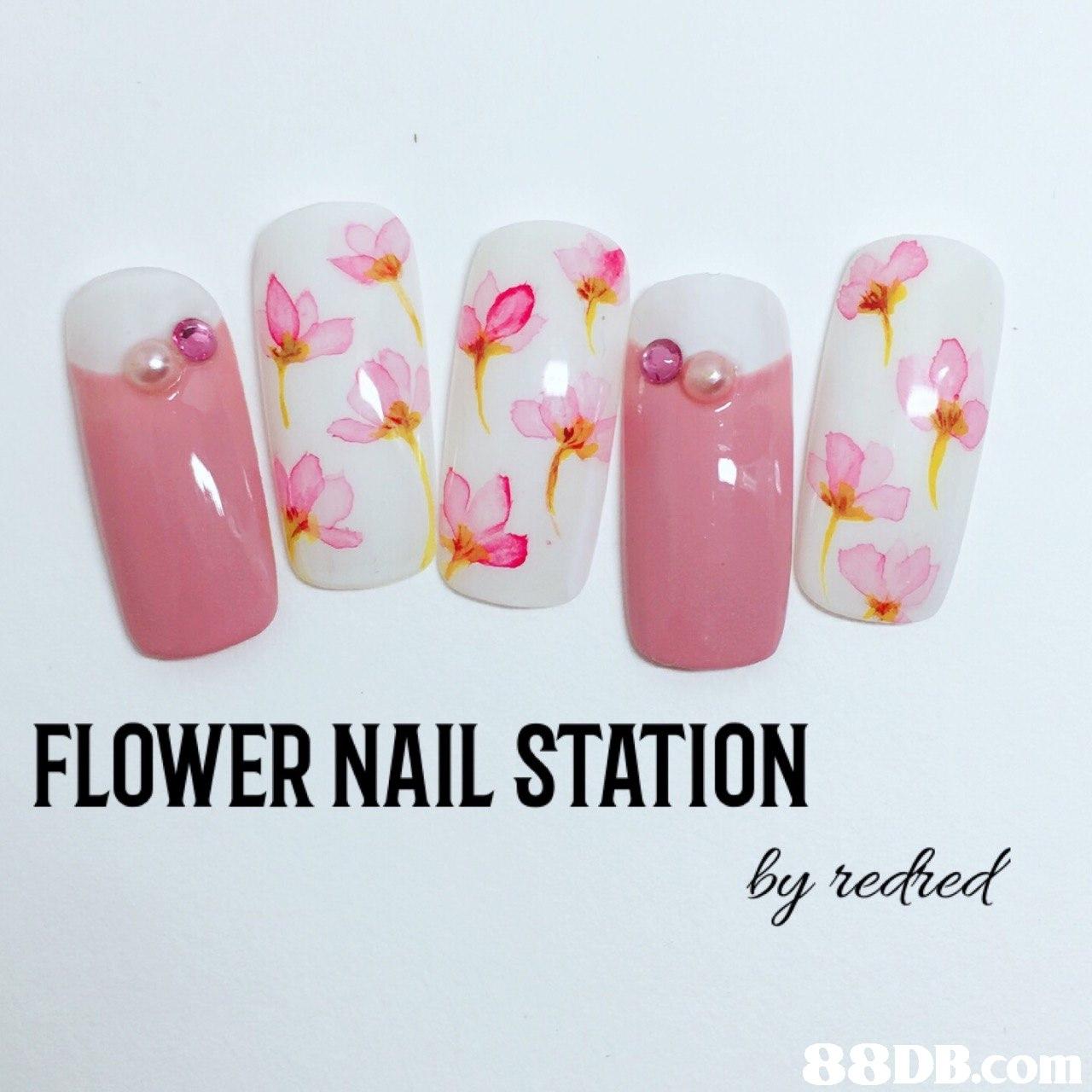 FLOWER NAIL STATION by redhed   Nail,Pink,Nail polish,Finger,Nail care