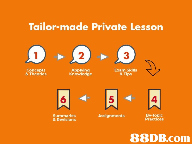 Tailor-made Private Lesson 2 3 Concepts & Theories Applying Knowledge Exam Skills & Tips 6 5 4 Summaries & Revisions By-topic Practices Assignments 88DB.com  text