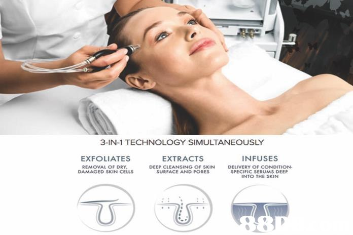 3-IN-1 TECHNOLOGY SIMULTANEOUSLY EXFOLIATES EXTRACTS INFUSES REMOVAL OF DRY DAMAGED SKIN CELLS DELIVERY OF CONDITION DEEP CLEANSING OF SKIN D SURFACE AND PORES SPECIFIC SERUMS DEEP INTO THE SKIN  face,skin,eyebrow,cheek,beauty