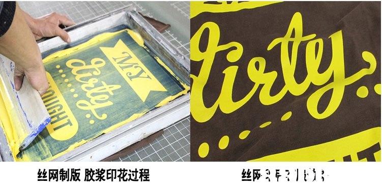 丝网制版胶浆印花过程  yellow,text,font,product,poster
