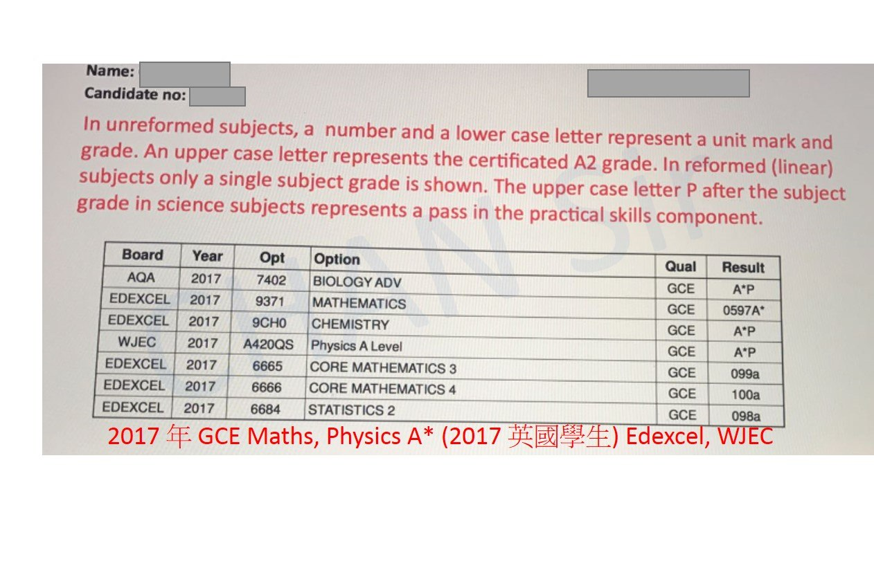 Name: Candidate no: In unreformed subjects, a number and a lower case letter represent a unit mark and grade. An upper case letter represents the certificated A2 grade. In reformed (linear) subjects only a single subject grade is shown. The upper case letter P after the subject grade in science subjects represents a pass in the practical skills compon ent. Board Year Opt Option AQA 2017 7402 BIOLOGY ADV EDEXCEL 2017 9371 MATHEMATICS EDEXCEL 2017 9CHO CHEMISTRY Qua Result GCE GCE 0597A A P WJEC 2017 A420QS Physics A Level EDEXCEL 2017 6665 CORE MATHEMATICS 3 EDEXCEL 2017 6666 CORE MATHEMATICS 4 EDEXCEL 20176684 STATISTICS 2 2017年GCE Maths, Physics A* (2017英國學生)Edexcel, WJEC GCE AP GCE 099a GCE 100a GCE 098a  text,product,font,line,material