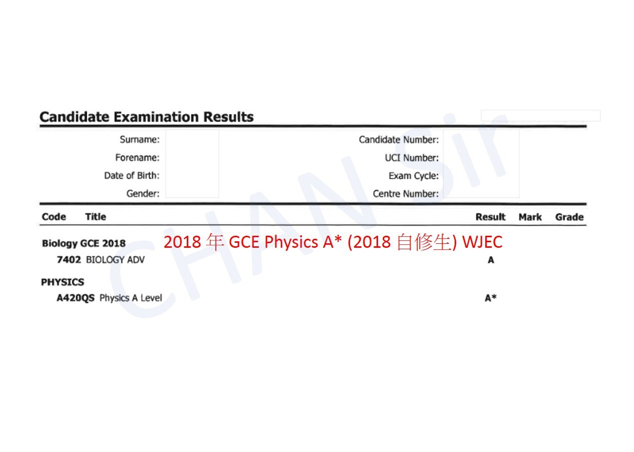 Candidate Examination Results Surname: Forename Date of Birth: Gender: Candidate Number: UCI Number: Exam Cycle: Centre Number: Code Title Result Mark Grade Biology GCE 2018 2018年GCE Physics A* (2018目修生) WJEC 7402 BIOLOGY ADV PHYSICS A420QS Physics A Level A*  text,font,line,product,area