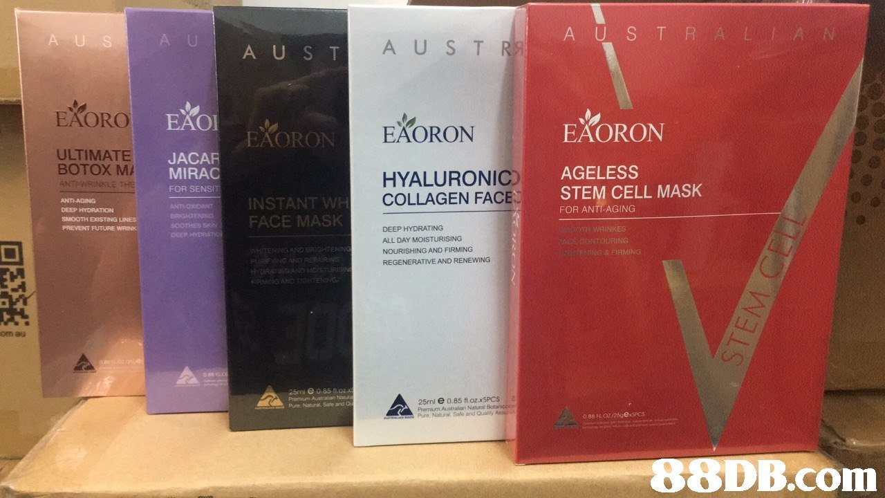 USTRAL A,'N' A U A U S T AUST EAORO EAOI EÄORON EXORON EAORO ULTIMATE BOTOX MA ANT JACAR MIRAC FOR SENSIT re AGELESS HYALURONIC) COLLAGEN FACE STEM CELL MASK INSTANT FOR ANTI-AGING DEEP HYDRATION SMOOTH DUSTING LINES PREVENT FUTURE WA oomssFACE MA DEEP HYDRATING ALL DAY MOISTURISING NOURISHING REGENERATIVE AND RENEWING AND FIRMING on au Premium Australian Nonu Pure Natura. Sate and O 25ml e 0.85 fl.ozx5PCSa Premium Australian Nateal A AO Pure Natural, Safe and Quality Ass 0.88 FLO2 1250ex5Pcs   product,product,cosmetics,perfume