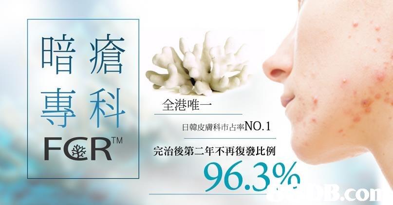 暗瘡 |專科 FCERTM | 全港唯一 日韓皮膚科市占率NO.1 完治後第二年不再復發比例 96.3% CO  face,skin,nose,chin,jaw