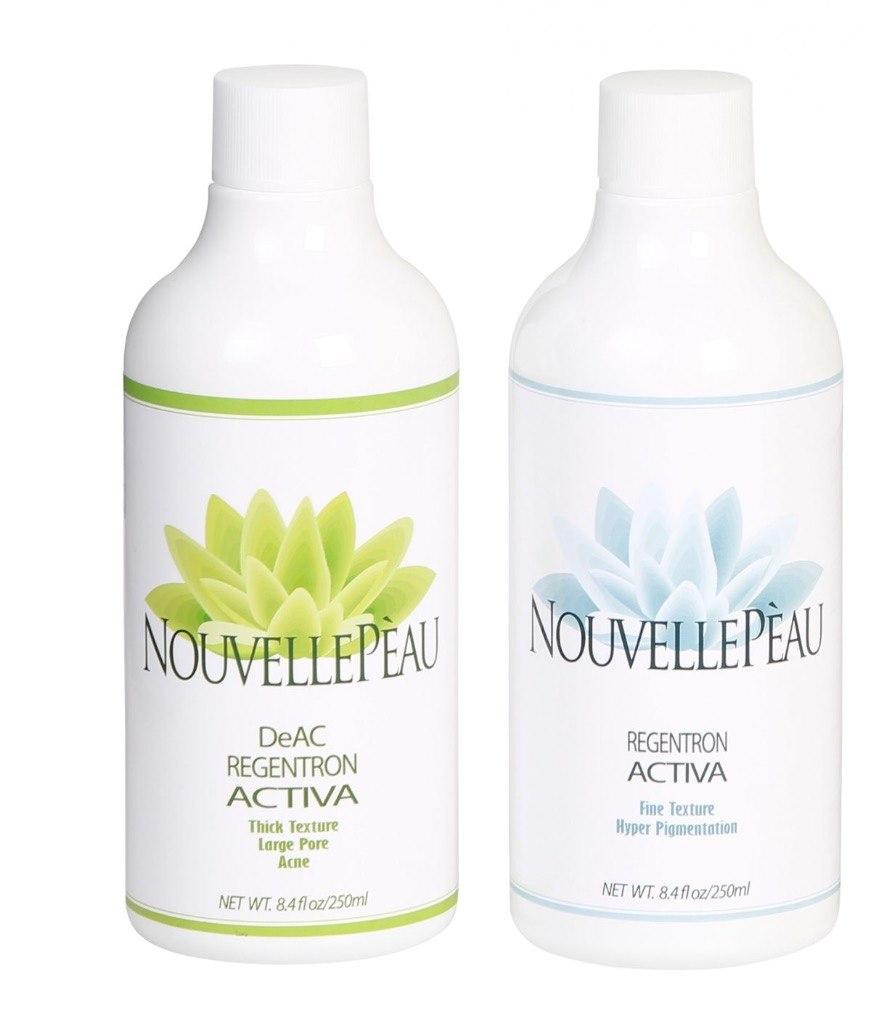 OELLEEA NOVELLEPEAU DeAC REGENTRON ACTIVA Thick Texture large Pore Acne REGENTRON ACTIVA Fine Texture Hyper Pigmentation NET WT 84floz/250m NET WT. 84floz/250m  product,product,lotion,skin care,liquid