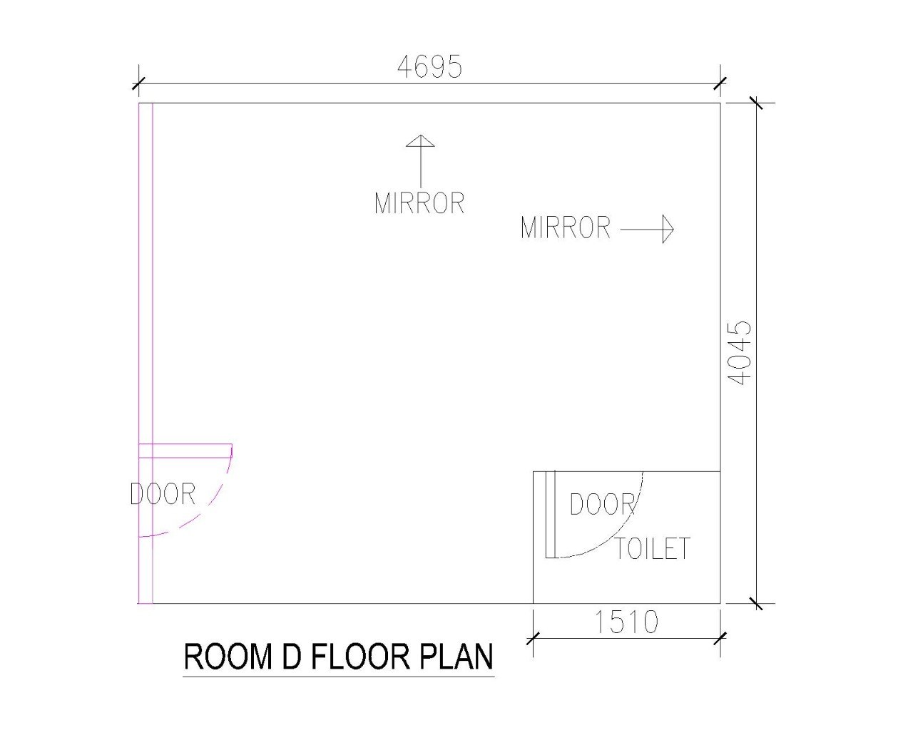 4695 MIRROR MIRROR LO D00 OILET ,1510 ROOM D FLOOR PLAN  text