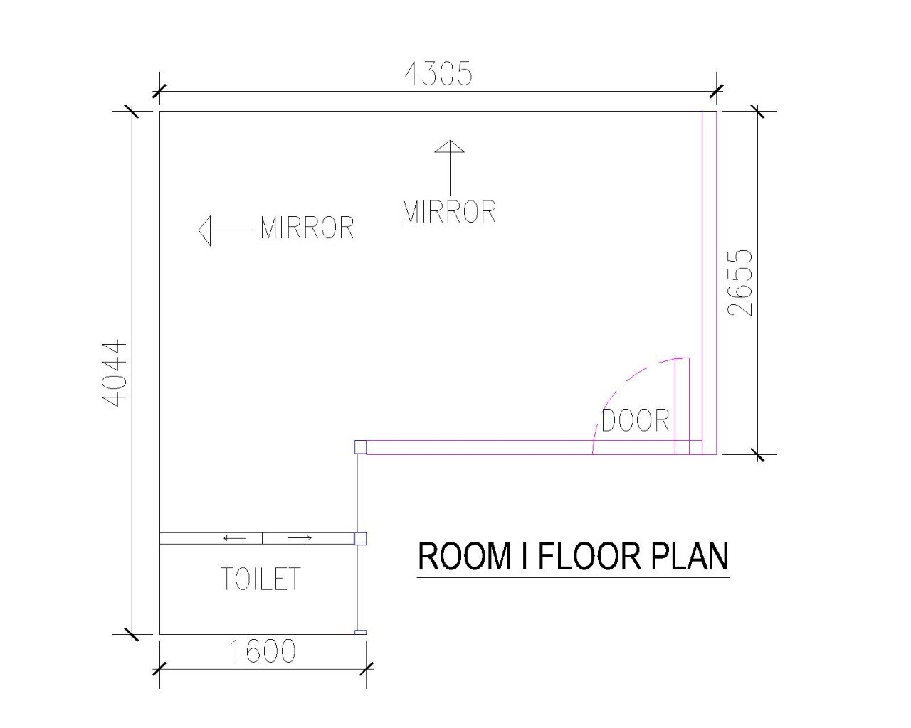 4305 MIRROR MIRROR LO 6OOR ROOM I FLOOR PLAN TOILET 1600  text