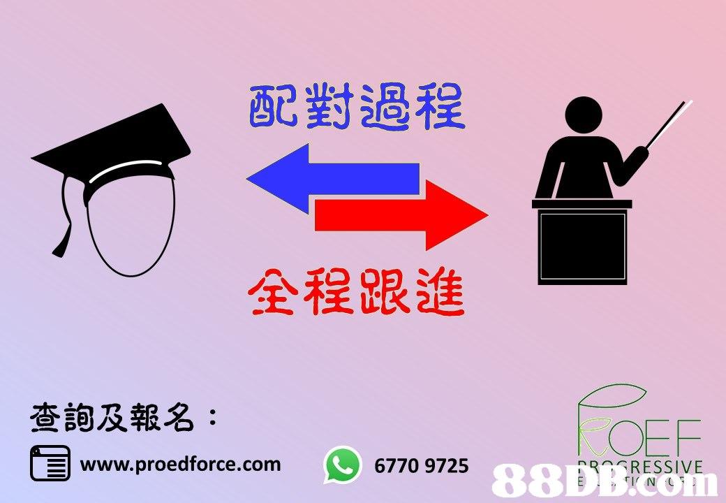 配對過程 全程跟進 查詢及報名: 国 OEF 88DBRESVE | www.proedforce.com 6770 9725  text,product,font,line,product