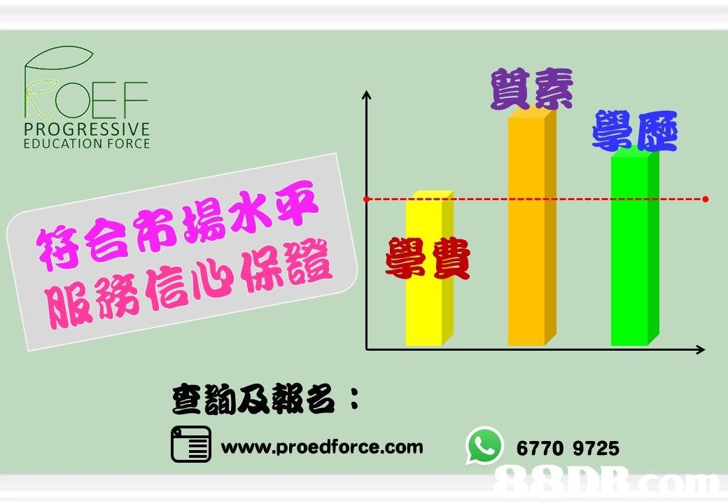 OEF 質素 PROGRESSIVE EDUCATION FORCE 學歷 符合市場水平 服務信 保證 學費 查詢及報名: www.proedforce.com 6770 9725  text,product,product,line,font