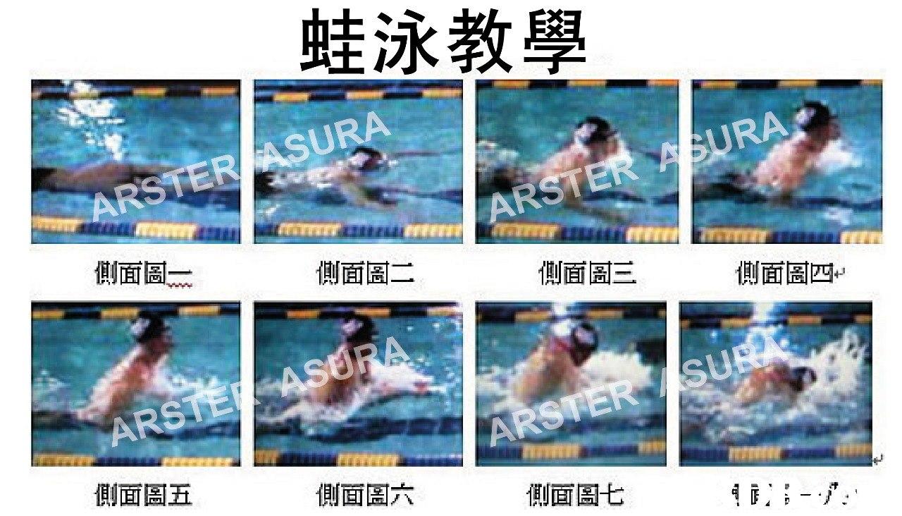 蛙泳教學 ARSTERASURA URA 側面圄 側面圄二 侧面圄三 1則面圄 ら 側面周五 側面圖六 侧面圖七  leisure