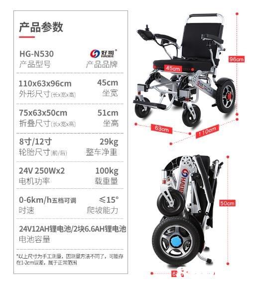 产品参数 HG-N530 产品型号 110x63x96cm 外形尺寸伥 宽 高) 75x63x50cm 折疊尺寸(长 宽 高) 8寸/12寸 轮胎尺寸前/后) 24V 250Wx2 电机功率 96cm 产品品牌 口口口口 45cm 坐宽 51cm 29kg 整车净重 100kg 载重量 0-6km/h五档可调 <150 时速 24V12AH锂电池/2块6.6AH锂电池 电池容量 ·以上尺寸为手工測量,因测量方法不同了,可蔗存 50cm 爬坡能力 在1-2cm误差,属于正常范H  motor vehicle,product,product,vehicle,wheel