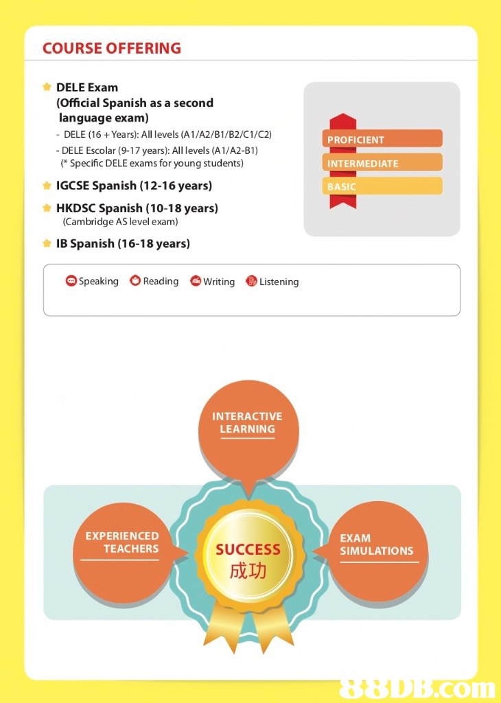 COURSE OFFERING DELE Exam (Official Spanish as a second language exam) - DELE (16+Years): All levels (A1/A2/B1/B2/C1/C2) DELE Escolar (9-17 years): All levels (A1/A2-B1) (Specific DELE exams for young students) PROFICIENT INTERMEDIATE BASIC IGCSE Spanish (12-16 years) HKDSC Spanish (10-18 years) (Cambridge AS level exam) IB Spanish (16-18 years) -Speaking OReading-writing listening INTERACTIVE LEARNING EXPERIENCED TEACHERS EXAM SIMULATIONS SUCCESS 成功 88DB.com  text