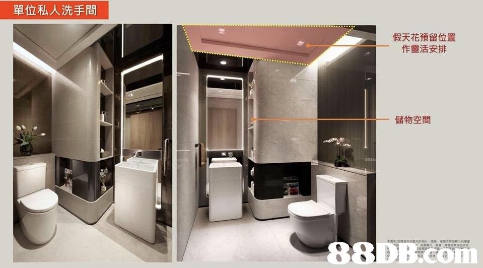 單位私人洗手間 假天花預留位置 作靈活安排 儲物空間 88 DB.cou  interior design,product,