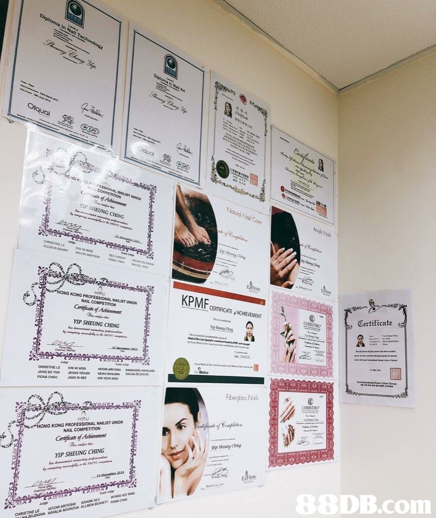 KPMF NG CHING Certificate CHRISTINELE K M ANG IN HEE Fberglass Nals 炉HONG KONG PROFESSIONAL NAILIST UNION NAIL COMPETITION Certficate of Achievement YIP SHEUNG CHING DB.com  text,