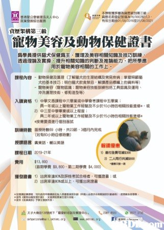 寵物美容及動物保健證書課程(資歷級別第三級)