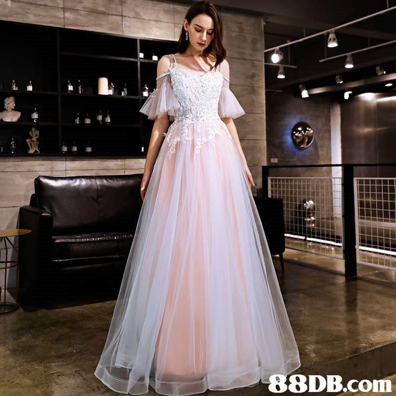 gown,dress,wedding dress,cocktail dress,shoulder