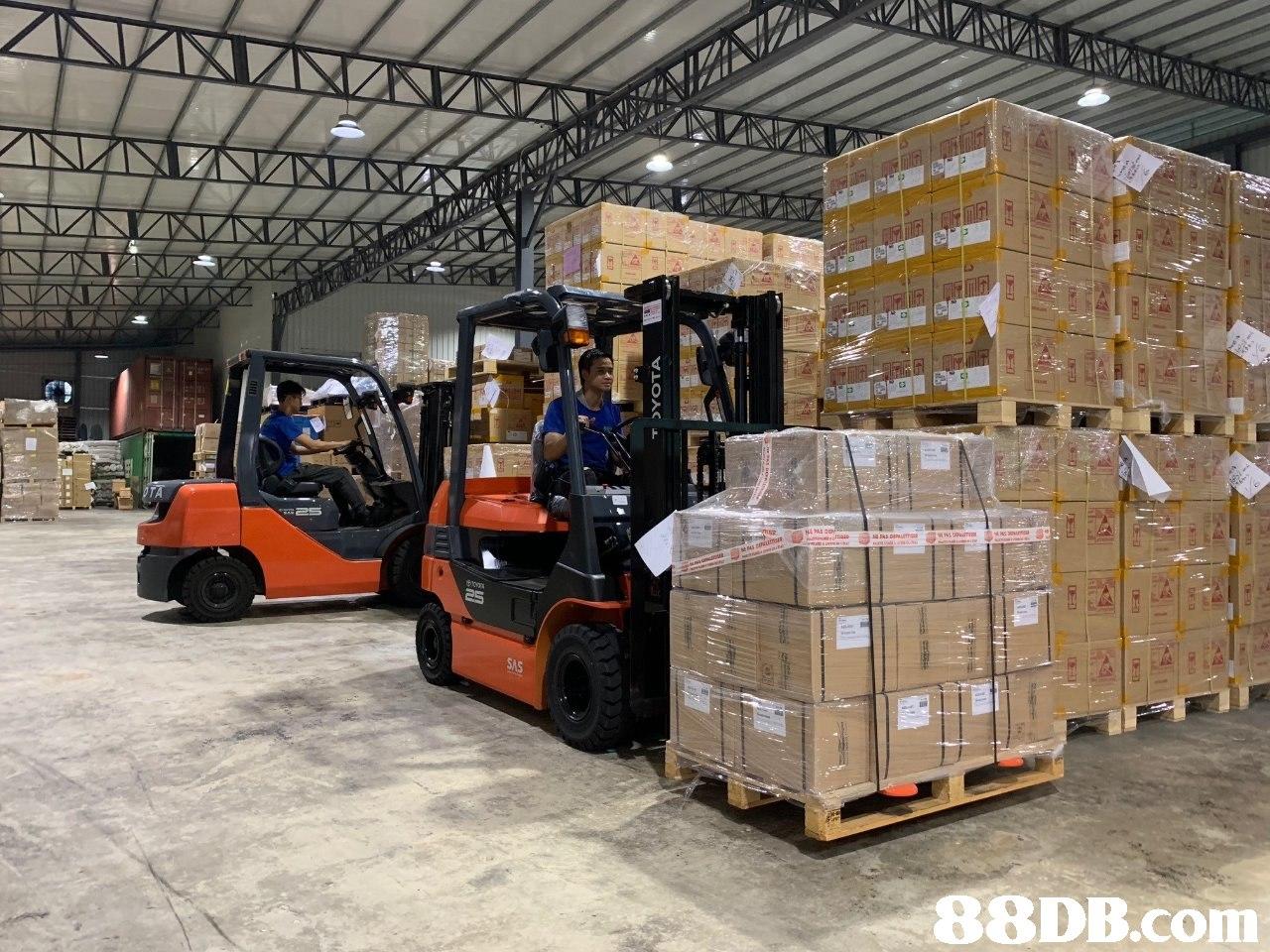 SAS   transport,forklift truck,motor vehicle,warehouse,warehouseman
