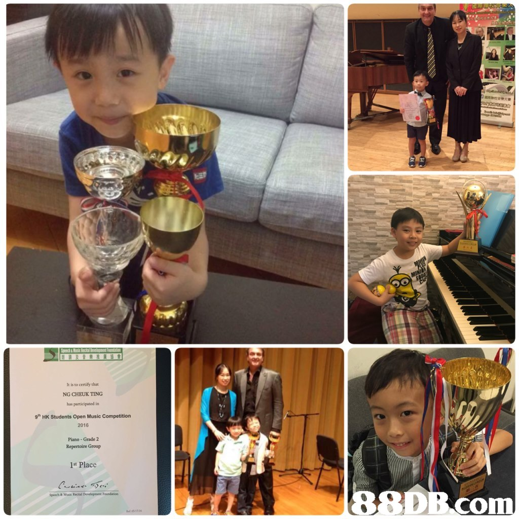 It is to certify that NG CHEUK TING has participated in 9th HK Students Open Music Competition 2016 Piano - Grade 2 Repertoire Group 1st Place com  day,