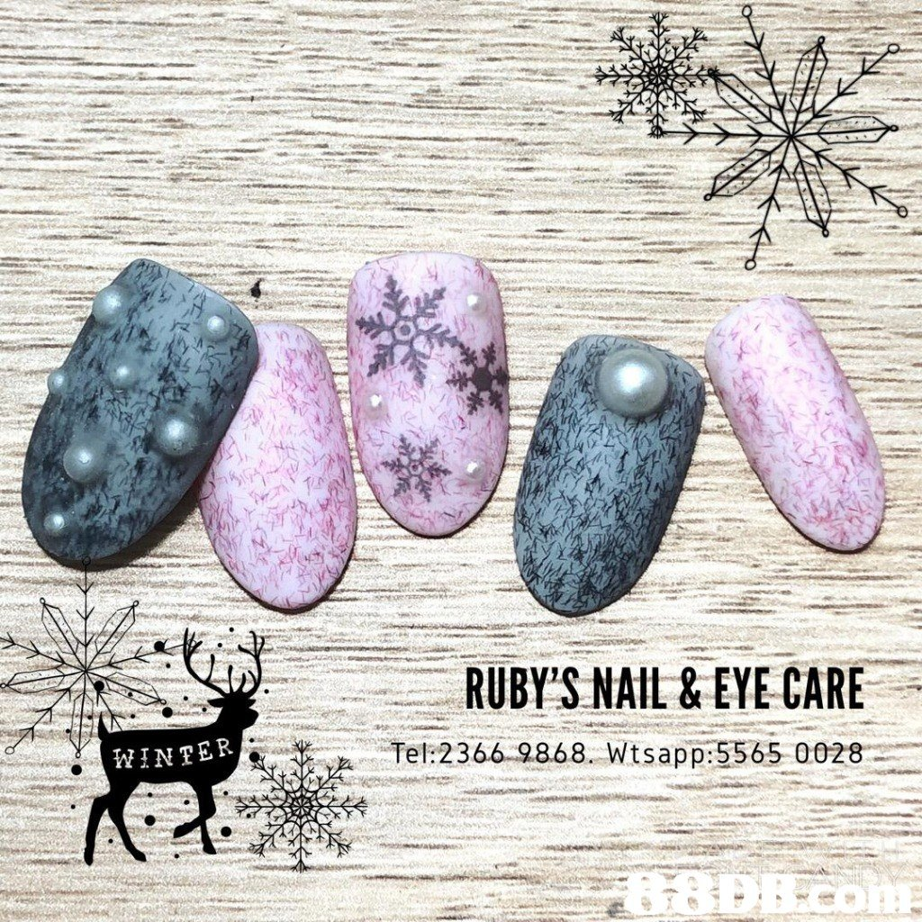 RUBY'S NAIL &EYE CARE INTER 干ek2 366-9868. Wtsapp:5565 00282  purple,font